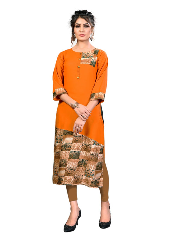 Women's Rayon Printed Kurti (Orange)