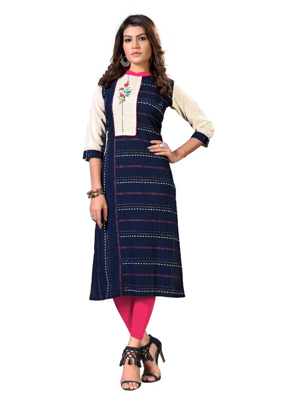 Women's Cotton  Embroidered Kurti (Blue and White)