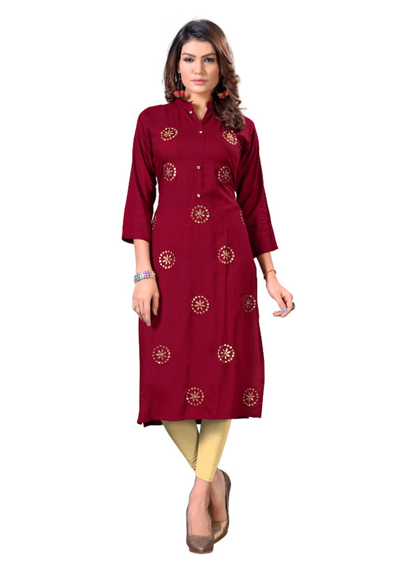 Women's Rayon Gota Patti Work Kurti (Marron)