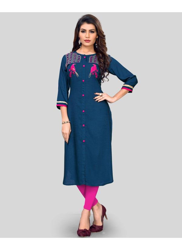 Women's Rayon Embroidered Kurti (Blue)