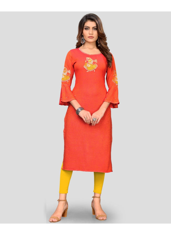 Women's Rayon Embroidered Kurti (Orange)