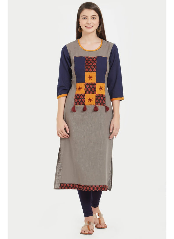 Women's Slub Cotton Printed  Kurti (Gray)