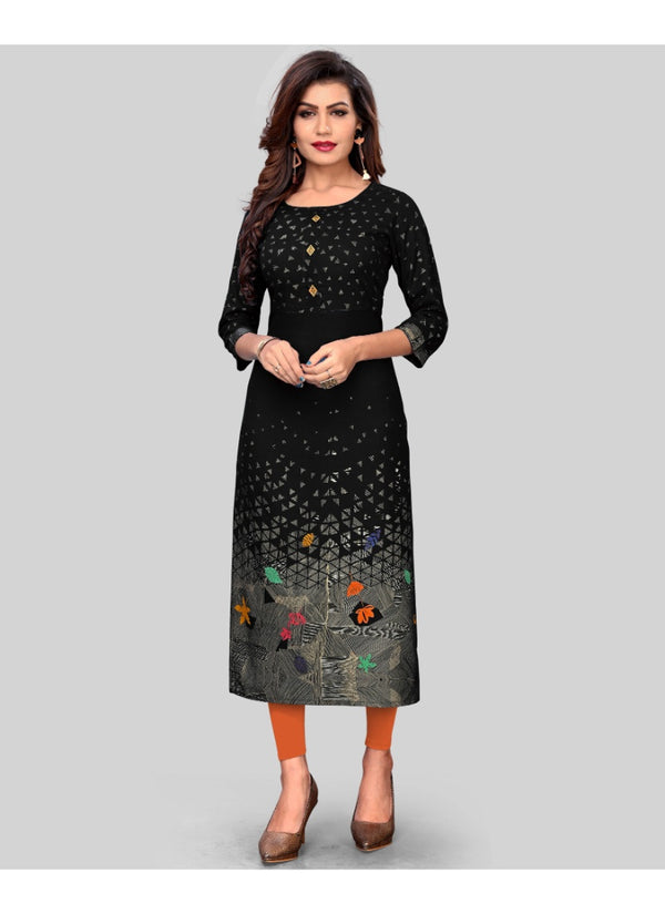Women's Rayon Printed Kurti (Black)