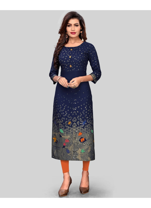 Women's Rayon Printed Kurti (Navy Blue)