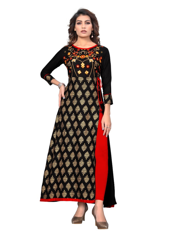Women's Rayon Embroidered and Printed Kurti (Black)