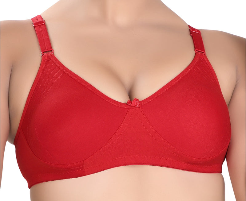 Side Support Non Padded Wire Free Regular Coverage-Red
