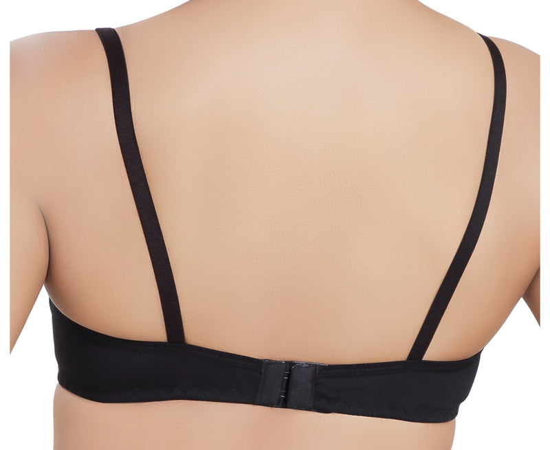 Daily Bra Non Padded Wire Free High Coverage Moulded Cup-Black