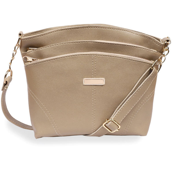 Women's Faux Synthetic Leather Satchel Bag (Golden)