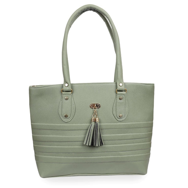 Women's Faux Synthetic Leather Tote Bag (Sea Green)