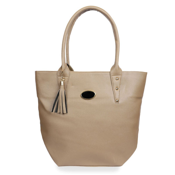 Women's Faux Synthetic Leather Tote Bag (Beige)