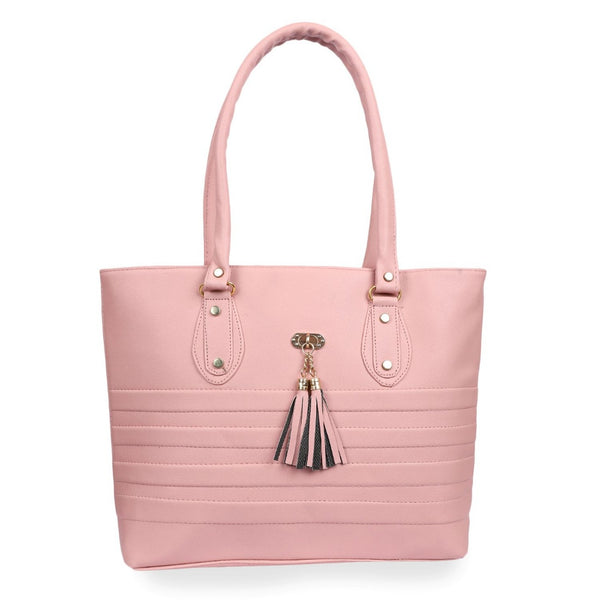 Women's Faux Synthetic Leather Tote Bag (Pink)