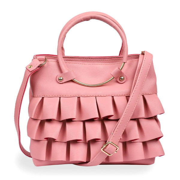 Women's Faux Synthetic Leather Satchel Bag (PINK)