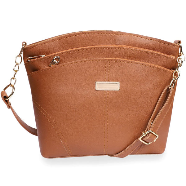 Women's Faux Synthetic Leather Satchel Bag (TAN)