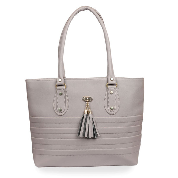 Women's Faux Synthetic Leather Tote Bag (Grey)