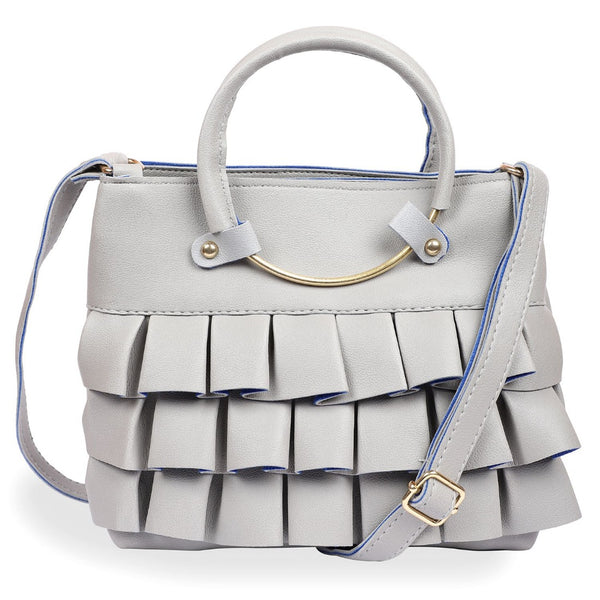Women's Faux Synthetic Leather Satchel Bag (Grey)
