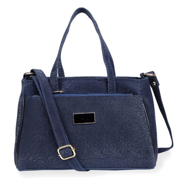 Women's Faux Synthetic Leather Satchel Bag (Blue)