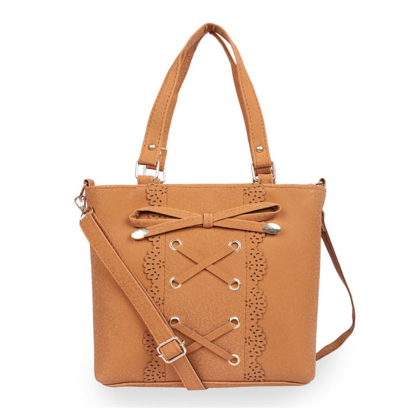 Women's Faux Synthetic Leather Satchel Bag (Cognac)