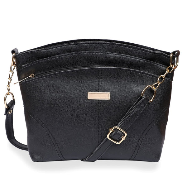 Women's Faux Synthetic Leather Satchel Bag (Black)