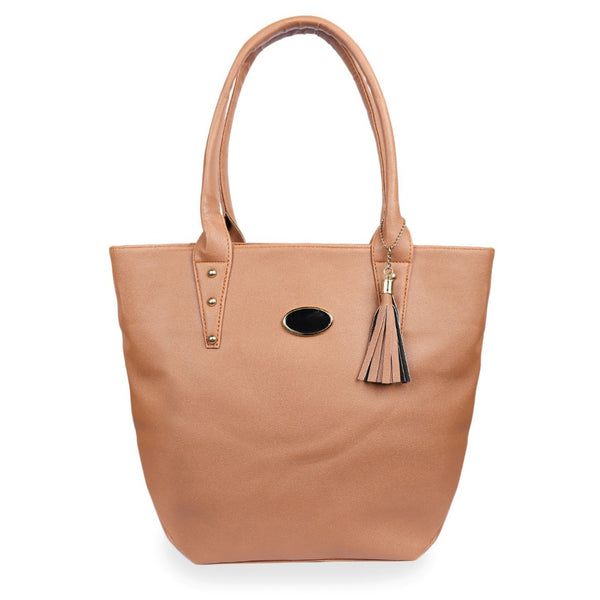 Women's Faux Synthetic Leather Tote Bag (Tan)