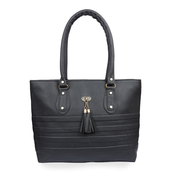 Women's Faux Synthetic Leather Tote Bag (Black)