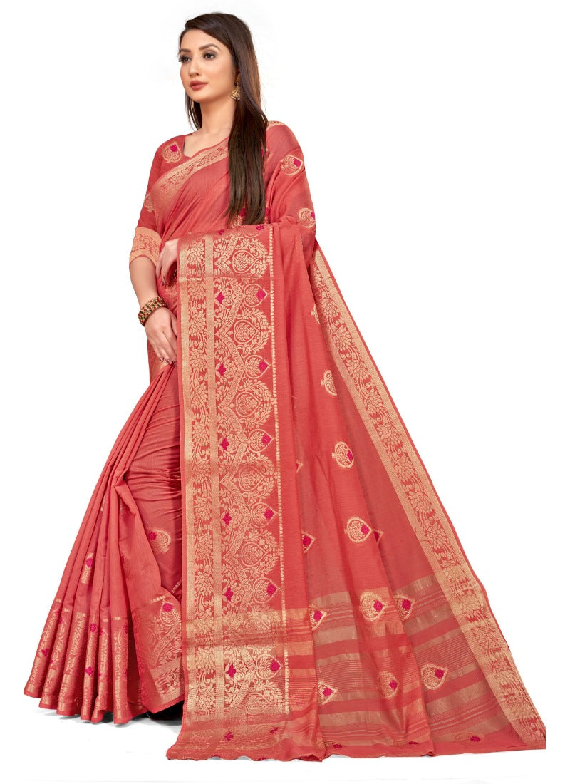 Women's Cotton Blend Saree (Peach ,5-6Mtrs)