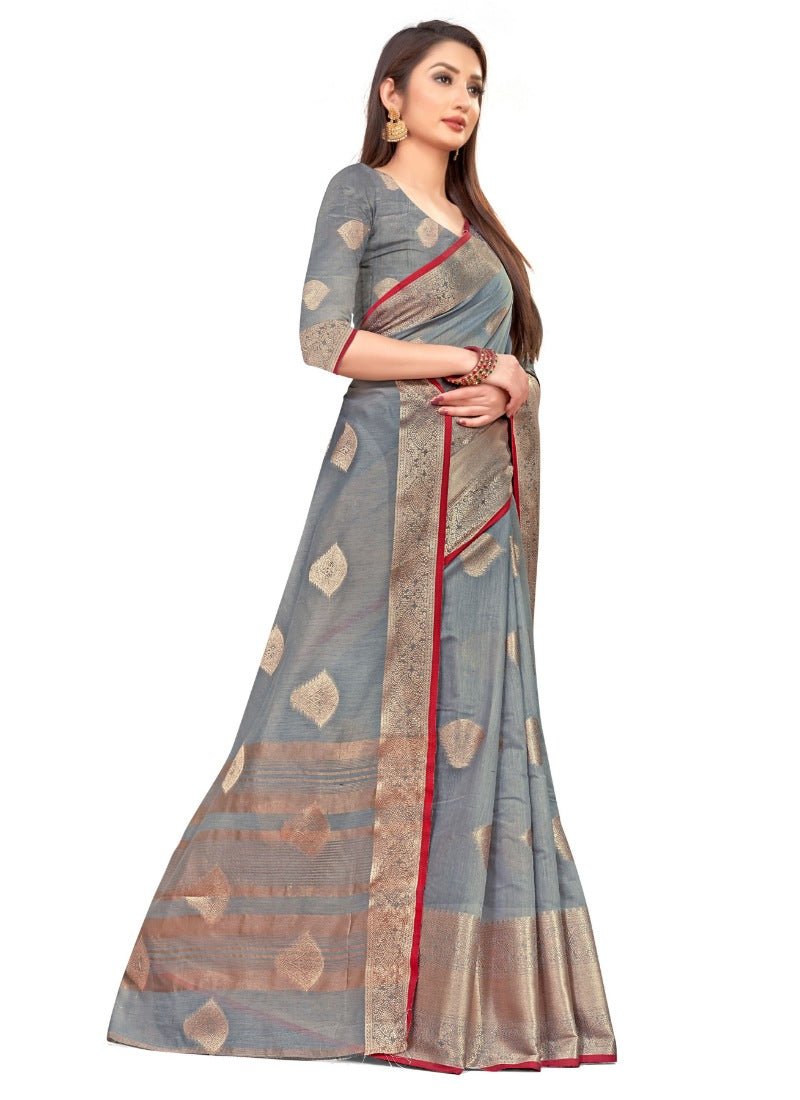 Women's Cotton Blend Saree (Greay ,5-6Mtrs)