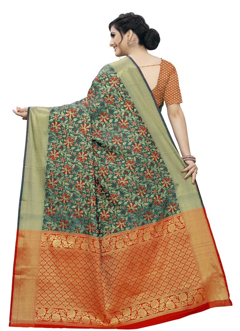 Women's Jacquard Saree (Multi ,5-6Mtrs)