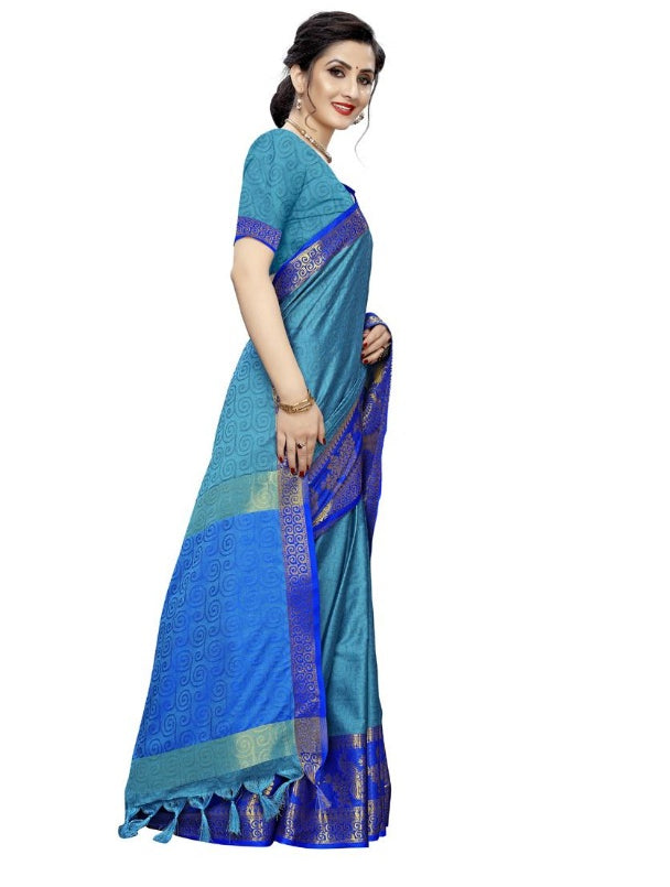 Women's Silk_Blend Saree (Dark Blue ,5-6Mtrs)