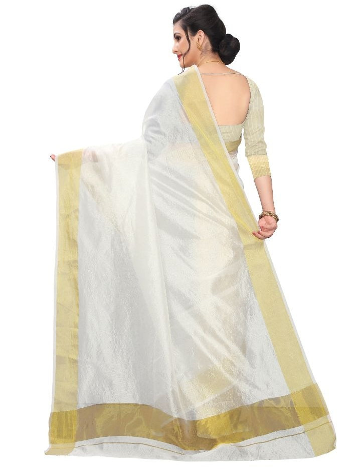 Women's Cotton Silk Saree (White ,5-6Mtrs)