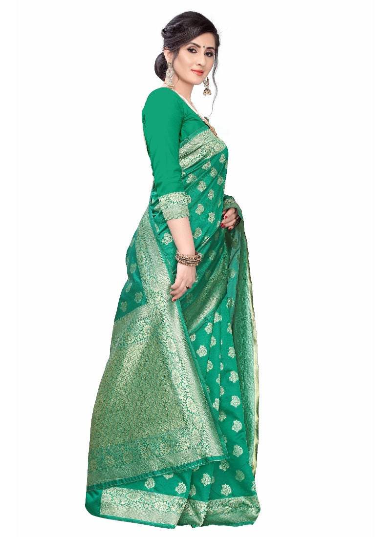 Women's Banarasi Silk Jacquard Saree (Green ,5-6Mtrs)