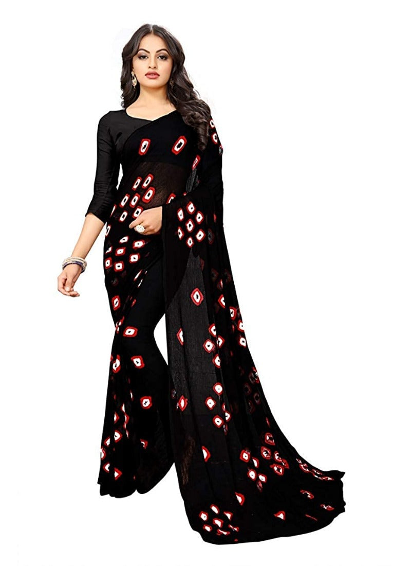 Women's Chiffon Saree (Black ,5-6Mtrs)