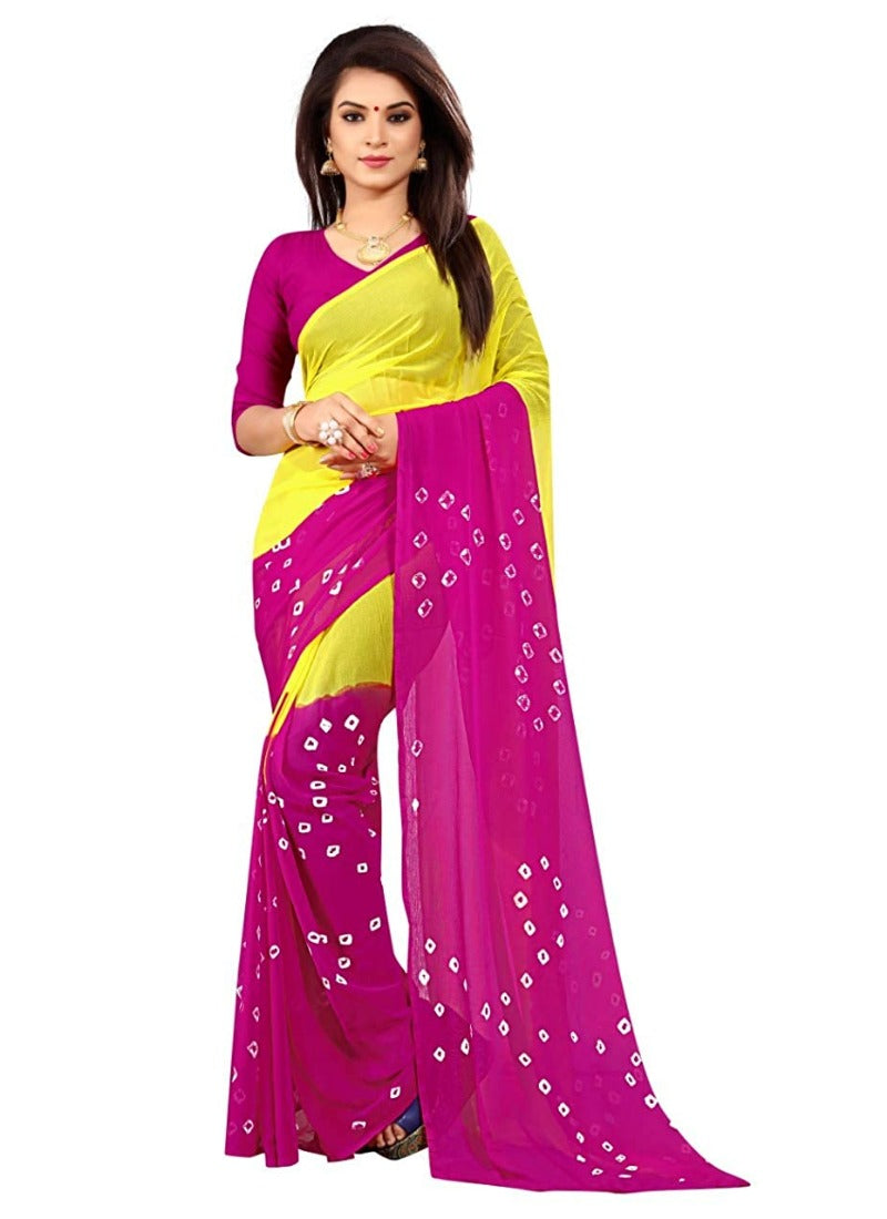 Women's Chiffon Saree (Yellow ,5-6Mtrs)