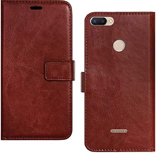 Vintage Leather Flip Wallet Case Stand with Magnetic Closure & Card Holder Cover for Redmi 6 (Brown/Black) - AHLV005600010BXRM6C
