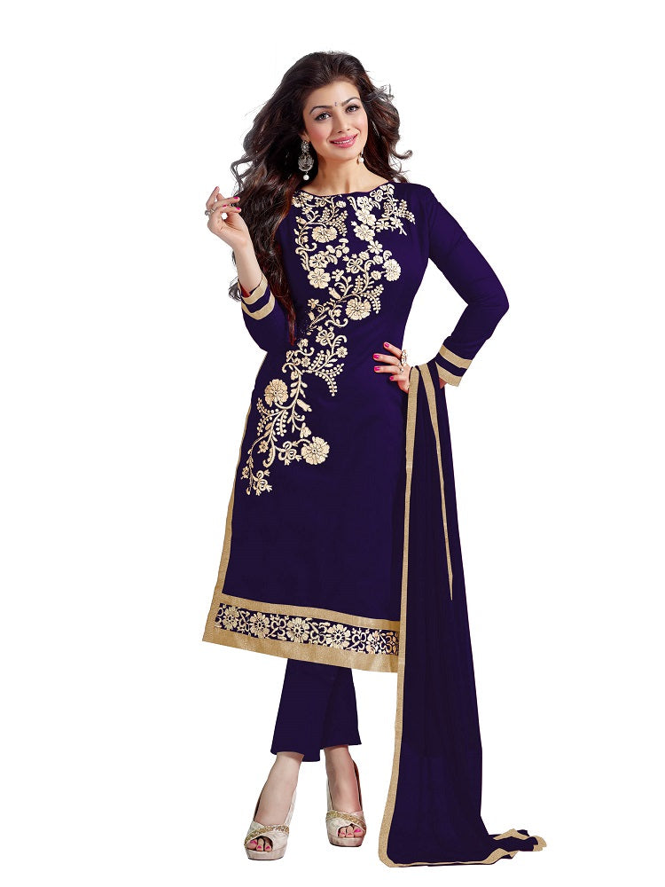 Navy Blue Embroidered Chanderi Dress Material