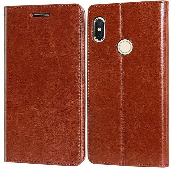 Back Flip Cover Case for Mi Redmi Note 6 Pro Leather | Foldable Stand | 2 Card Slot | 1 ID Slot Brown/Black - AHLV005600009BMI6PNC