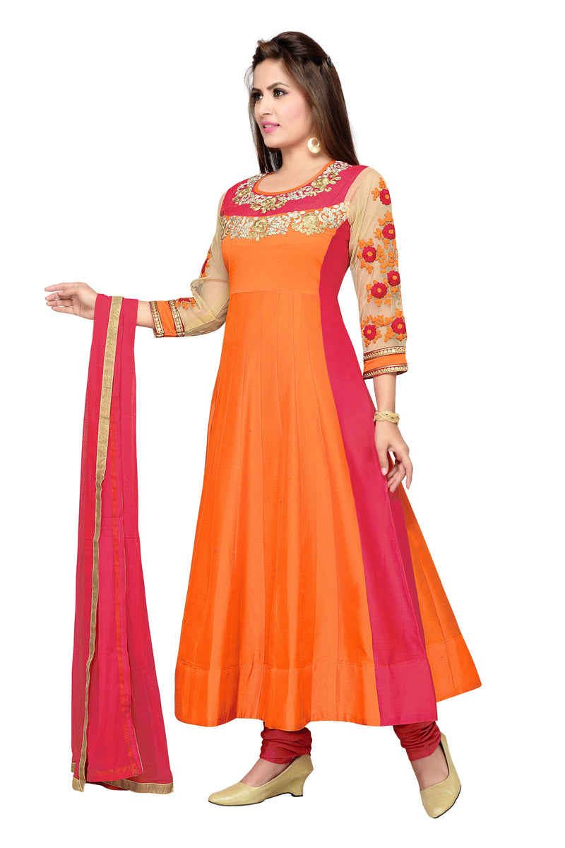 Orange Designer Suit Chanderi