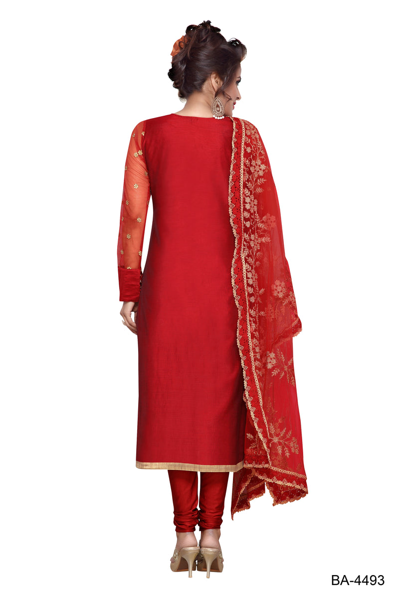 Party Wear Chanderi Stitched Designer suit for Women Color Maroon Size 34 | 36 | 38 | 40 | 42 | 44 | 46 | 48 | 50 | 52 | 54 | 56 | 58 | 60