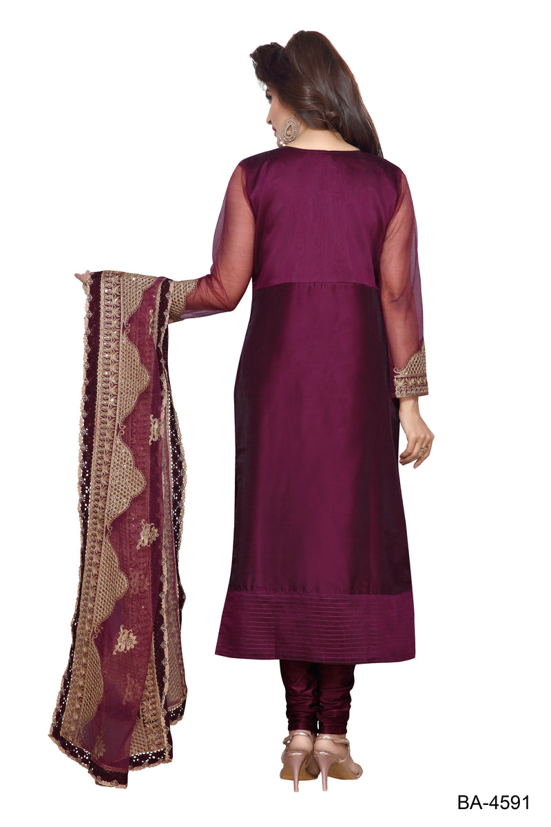 Party Wear Chanderi Stitched Designer suit for Women Color Wine Size 34 | 36 | 38 | 40 | 42 | 44 | 46 | 48 | 50 | 52 | 54 | 56 | 58 | 60