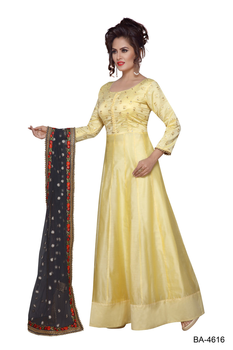 Chanderi Stitched Designer Suit for Women Color Pink | Sky Blue | Yellow Size 34 | 36 | 38 | 40 | 42 | 44 | 46 | 48 | 50 | 52 | 54 | 56 | 58 | 60