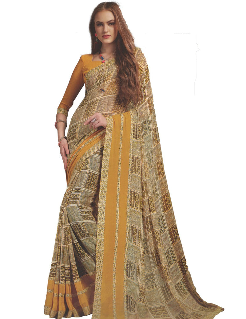 Georgette Digital Printed Saree With Blouse Yellow Color Saree