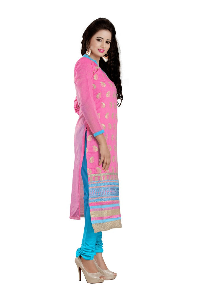Womens Designer Pink Chanderi Partywear Salwar Suit Dress Material For Womens
