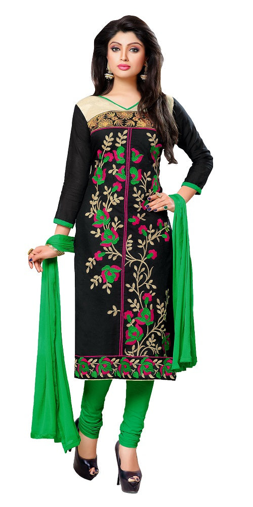 Women's Chanderi Black Unstitched Dress Material