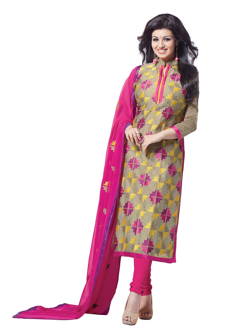 Women's Rose and multi color  Bhagalpuri Salwar Suit Material With Embroidery