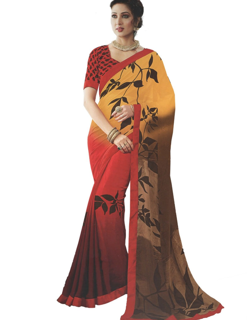 Georgette Digital Printed Saree With Blouse-Red, Yellow Color Saree