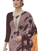 Georgette Digital Printed Saree With Blouse-Dusty Brown Color Saree