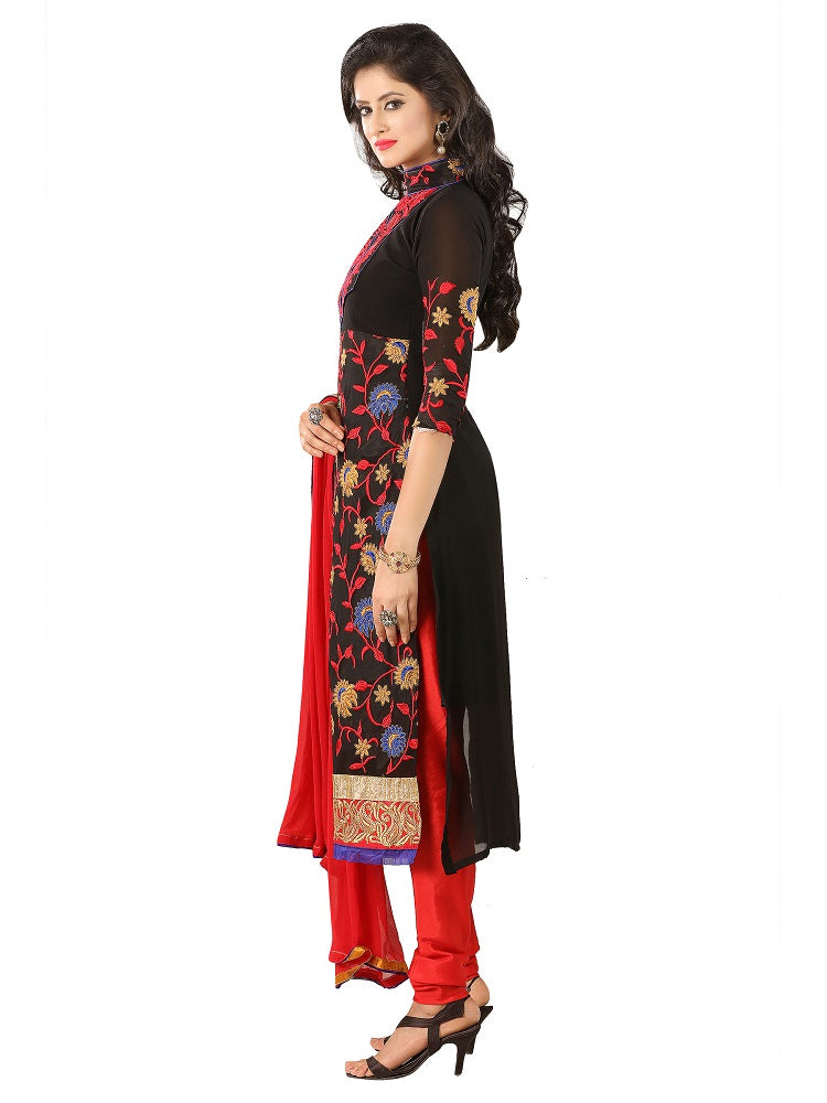 Womens Designer Black Georgette Partywear Salwar Suit Dress Material For Womens