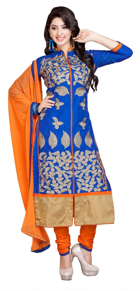 Women's Blue Cotton Unstitched Embroidered Dress Marerial