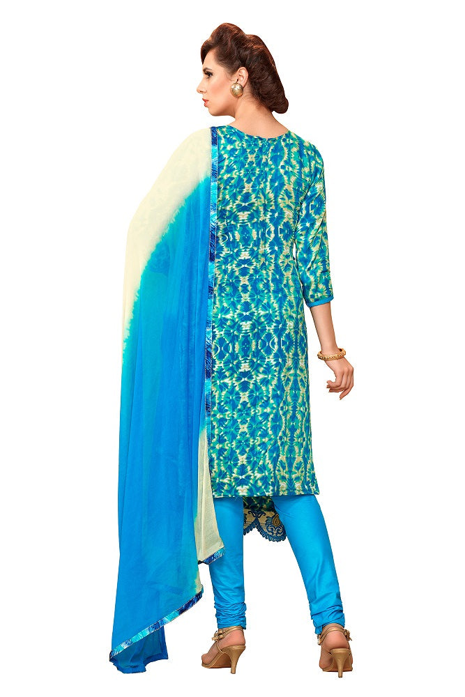 Womens Designer Sky Blue & Multi Glaze Cotton Partywear Salwar Suit Dress Material For Womens