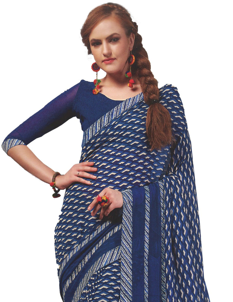 Georgette Digital Printed Saree With Blouse Dark Blue Color Saree