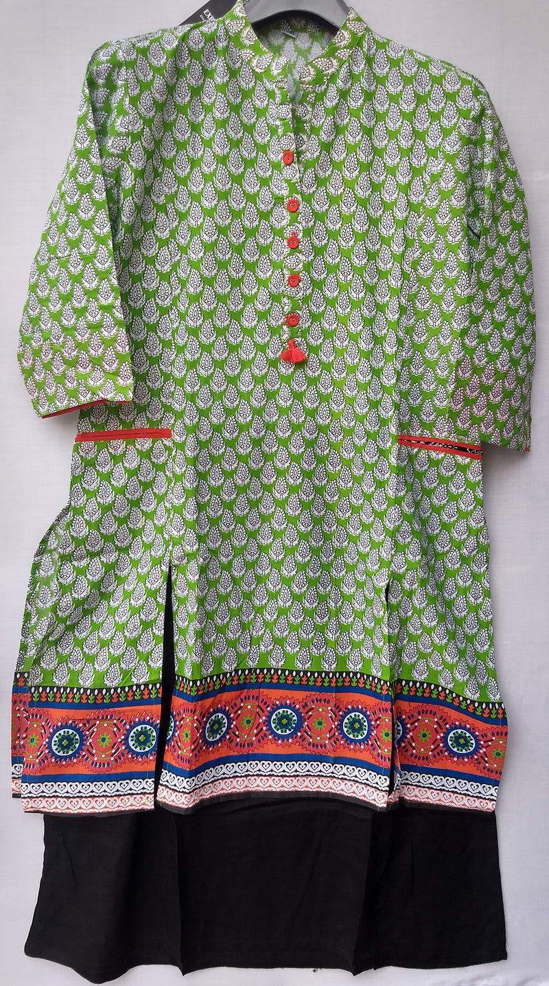 Long Green / Violet Cotton Kurti - RMFK000300002GLBP